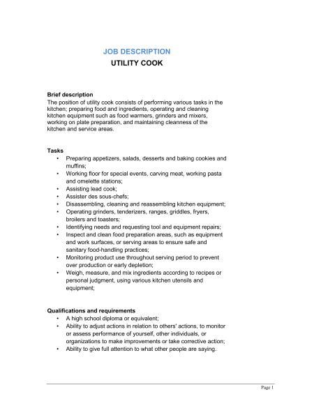 utility cook description template sle form