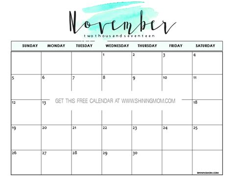 printable free november 2017 calendar free printable november 2017 calendar 12 beautiful designs