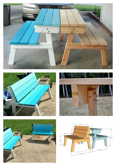 picnic table  converts  benches diy picnic table