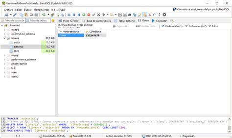 database libreria ejercicios de mysql insertar datos en la tabla editorial