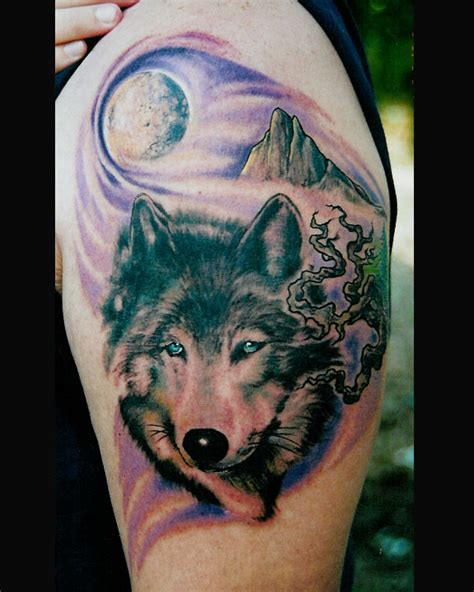 Forbidden Images Tattoo Art Studio Tattoos Nature Wolf With Moon Tattoos
