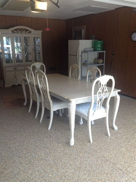 Antique White Dining Room Table And Buffet With Hutch Ebay Dining Table Hutch
