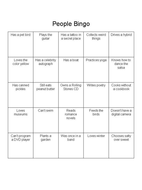 free printable ice breaker games for adults people bingo is a great ice breaker for adults people
