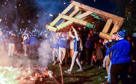 burning benches time lapse video benches burn on quad after duke beats