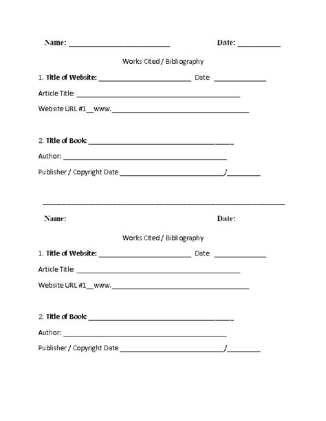 works cited worksheets works cited template worksheet part 1