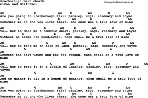 testo scarborough fair song lyrics with guitar chords for scarborough fair