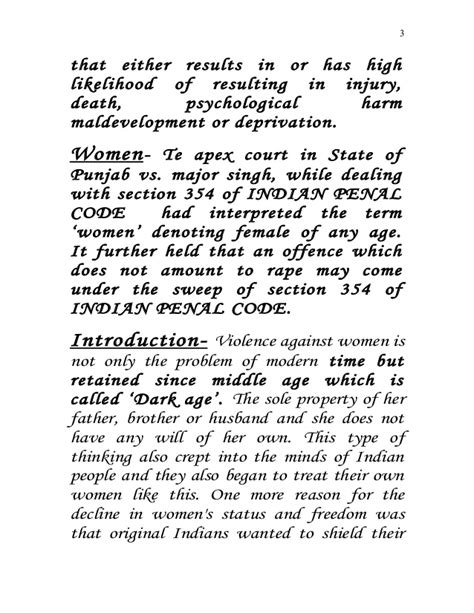 section 354 of indian penal code violence against women in india a project report submitted