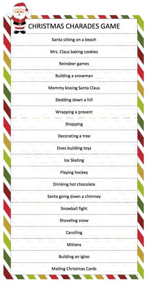 printable games for adults christmas christmas charades game pinterest christmas games to