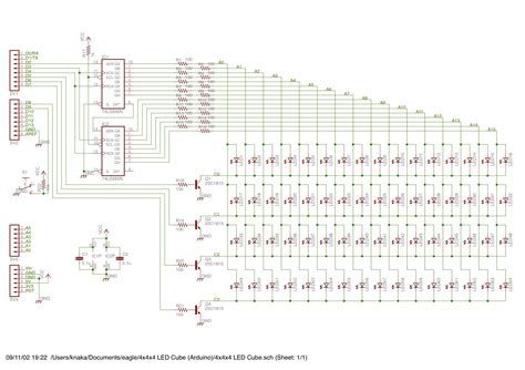 gt circuits gt schematic of 4x4x4 led cube for arduino