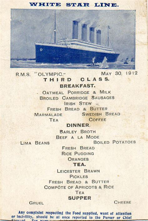 titanic third class menu rms olympic the early years