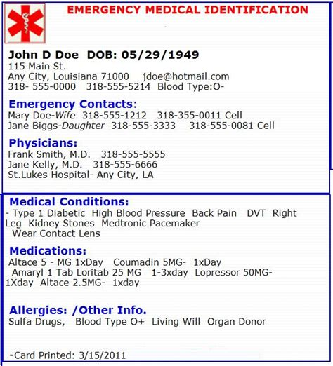 emergency id card template emergency card emergency preperation