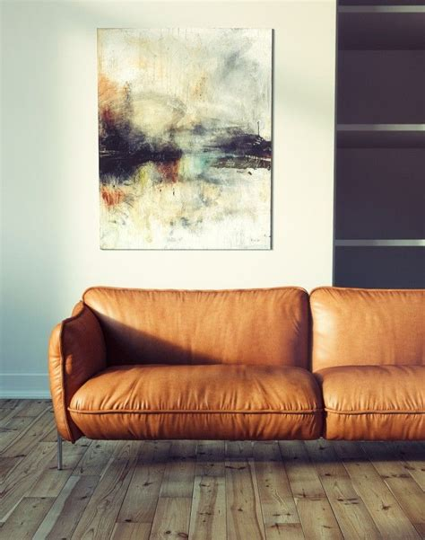 interior design leather sofa statement abstract art camel leather sofa couch