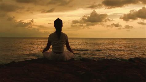beautiful meditation stock of silhouette of a beautiful