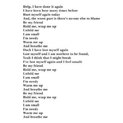 poem lyrics breathe me quotes quotesgram