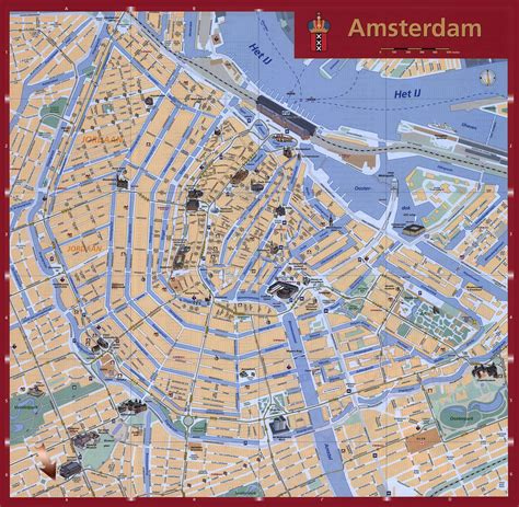 netherland city map detailed tourist map of amsterdam city amsterdam city