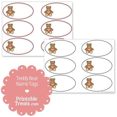 stuffed animal name card template teddy names name tags and teddy bears on