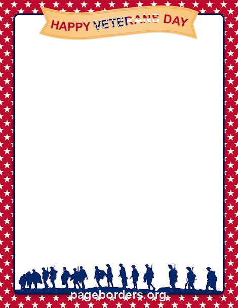 Printable Veterans Day Border Use The Border In Microsoft Word Or Other Programs For Creating Veterans Day Program Template