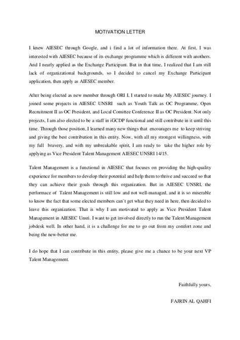 Motivation Letter Or Cover Letter Motivation Letter Exle