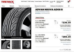 set of yoko advan neova ad08r tires 18 inch pelican