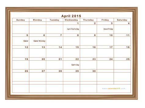 A4 Kalender 2015 April 2015 Calendar Blank Printable Calendar Template In
