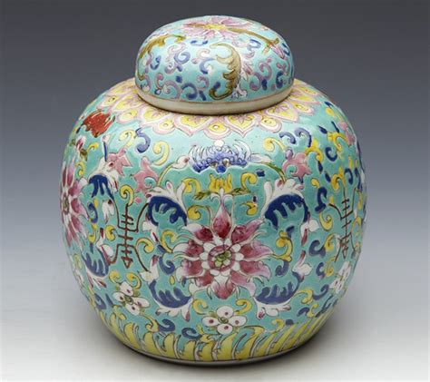 ginger jar superb antique chinese famille rose turquoise ground