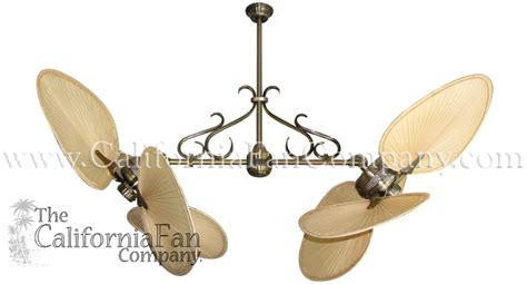double vertical ceiling fans twin star ii double ceiling fan with natural palm blades