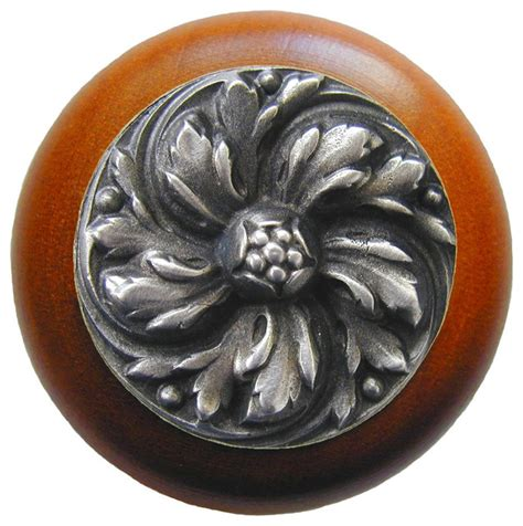 notting hill chrysanthemum cherry wood knob antique
