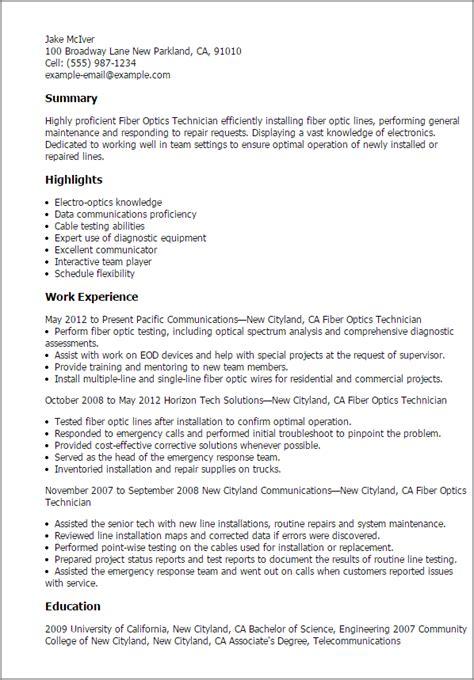 Cable Technician Resume by Professional Fiber Optics Technician Templates To Showcase
