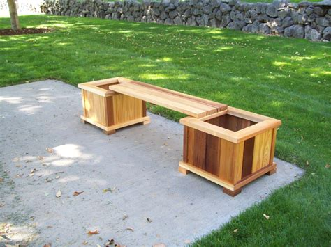 garden bench with planters wood country planter bench set