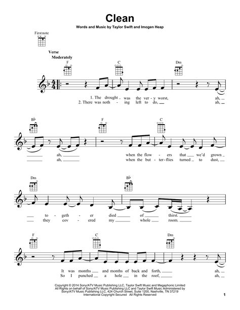 clean taylor swift lyrics chords clean by taylor swift ukulele guitar instructor