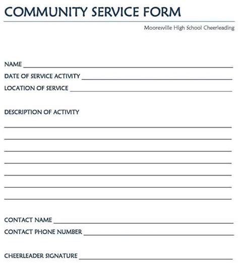 community service form template service hour form community service hours form service
