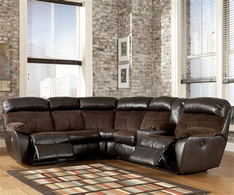 ashley reclining sectional reclining sectional with right side console by signature