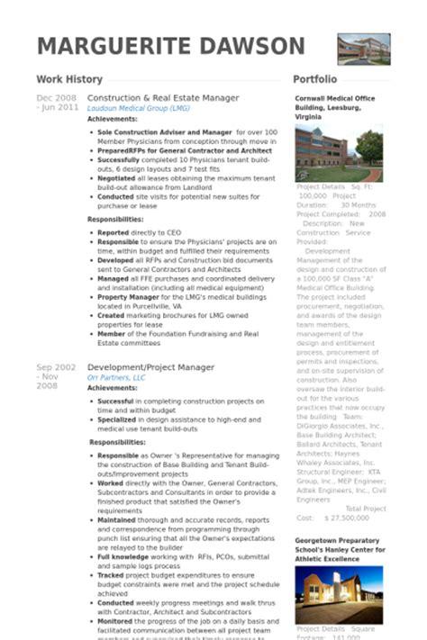 Resume Real Estate Manager Construction Resume Sles Visualcv Resume Sles Database