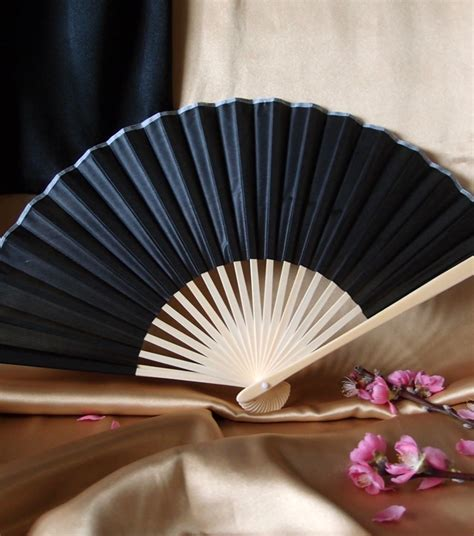 chinese fans for sale 9 quot black chinese folding silk hand fan for weddings on