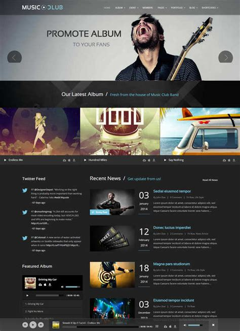 noise onepage djs band wordpress theme music and bands