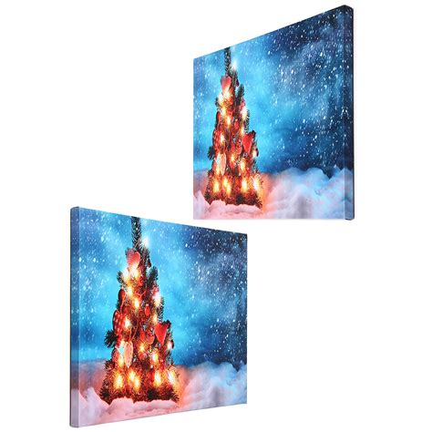 40 x 30cm operated led christmas snowy tree xmas canvas