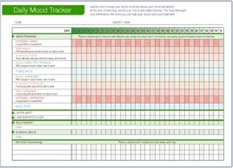Daily Mood Tracker Downloadable Mood Chart For Bipolar Disorder Bipolar Mood Chart Template