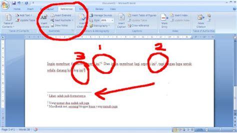 aturan membuat catatan kaki cara membuat footnote atau catatan kaki dengan ms word