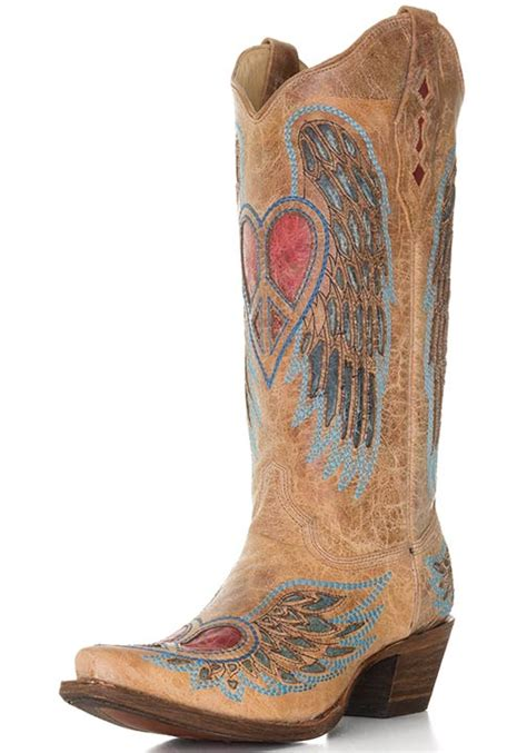 corral s boots w winged hearts saddle blue