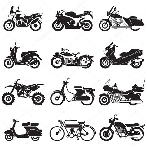 Set Aa Black White motorcycle icons set vector illustration stock vector