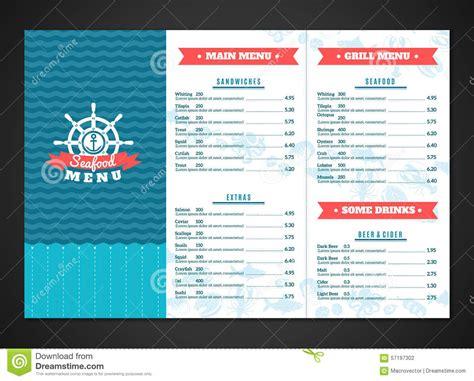Sea Food Restaurant Menu Seafood Template Design Fish Dishes Vector Illustration Vector Seafood Menu Template