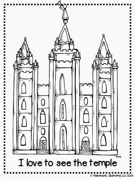 Melonheadz Lds Illustrating I Love To See The Temple Salt Lake Temple Coloring Page