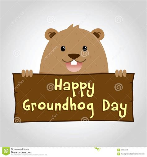 groundhog day time groundhog holding a wooden sign stock vector