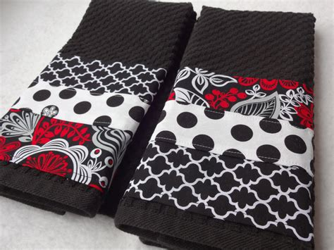 Handmade Kitchen Towels - kitchen towel set black white handmade kitchen black