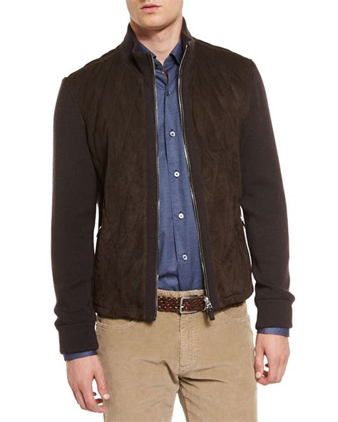 Quilted Suede Jacket by Ermenegildo Zegna Quilted Suede Jacket With Knit Sleeves