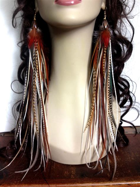 Handmade Feather Earrings - handmade thick feather earrings fiery brown goddess