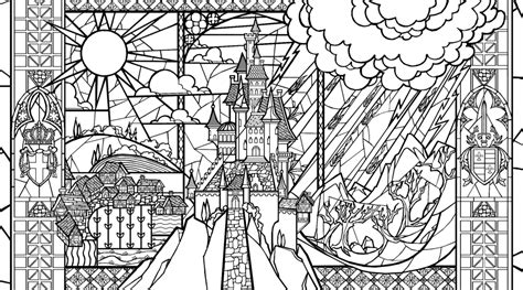 beauty and the beast window coloring page beauty and the beast stained glass coloring page
