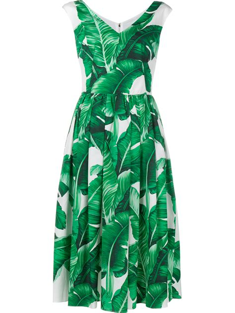 Sleeveless Leaf Print Dress dolce gabbana sleeveless banana leaf print cotton dress