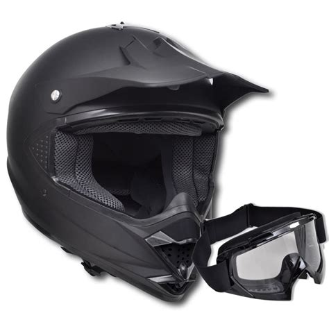 motocross helmet visor vidaxl co uk motocross helmet black m no visor with goggles