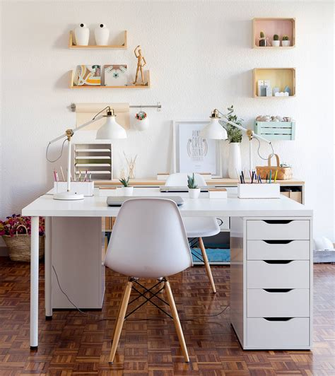 white contemporary home office design with ikea desk chair